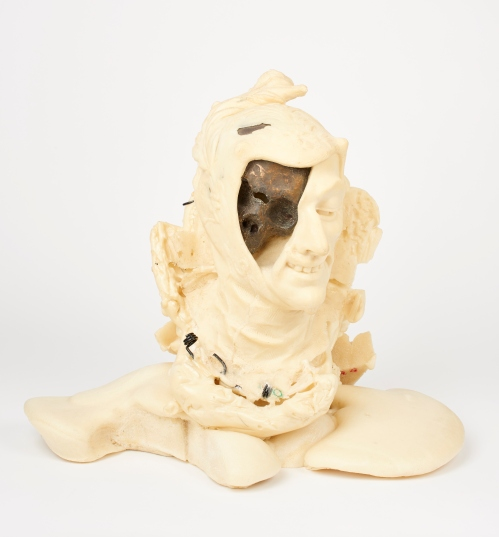 Process image of 'A lone dry skull' by Johan Thom, 2015,  (builders foam, found objects)